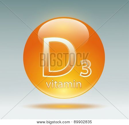 vitamin D3 on a gray background. Vector Image poster