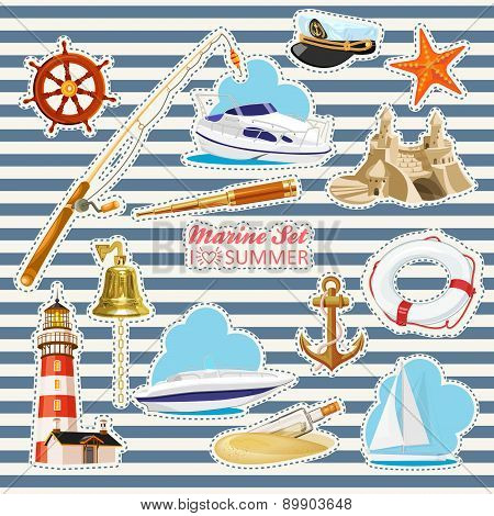 Set of nautical or naval elements with anchor, ship wheel, crossed tridents, lighthouse, bell, rod, starfish, telescope, lifeline, glass bottle with message for marine heraldry design poster