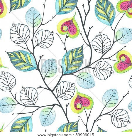Watercolor seamless pattern with branches and leaves, abstract illustration in vintage style.