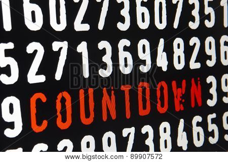 Computer Screen With Countdown Text On Black Background