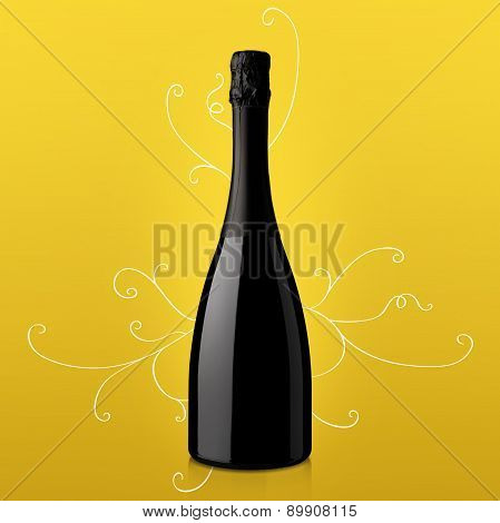 Bottle Of Wine On Yellow Background