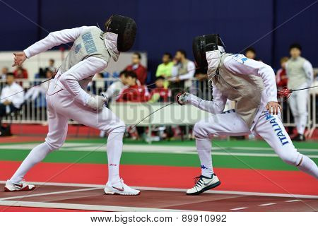 ST. PETERSBURG, RUSSIA - MAY 3, 2015: Team semifinal match Russia vs Italy during 41th International fencing tournament St. Petersburg Foil. The tournament is the stage of FIE World Cup