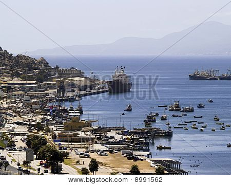 Bay with ships and boats