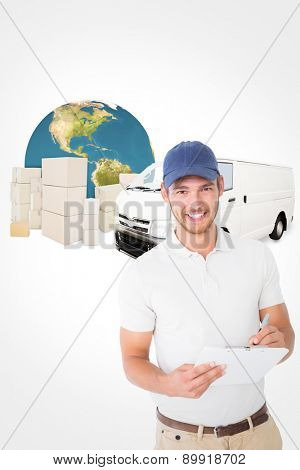 Happy delivery man holding clipboard against logistics graphic poster