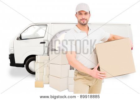 Delivery man carrying cardboard box against logistics graphic poster