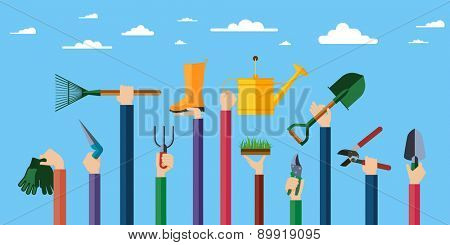 Flat design illustration of hands holding gardening tools. Hands holding various items for gardening. Vector illustration.