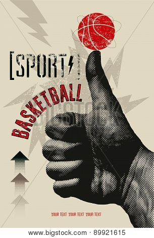 Basketball vintage grunge style poster. Retro vector illustration.