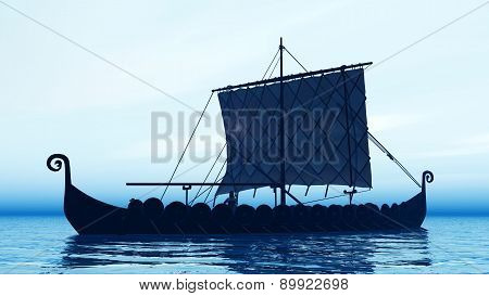 Viking ship at dawn