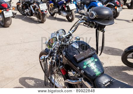 Motorcycle Helmet On The Motobike During The Traditional Annual Gathering Of Bikers