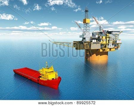 Computer generated 3D illustration with Platform Supply Vessel and Oil Platform poster