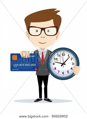 Businessman with credit card and a clock