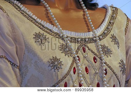 Ancient Medieval Princely Dress With Precious Pearl Necklace