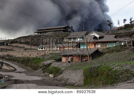 Volcanic Eruption In The Cemoro Lawang Town On Jawa In Indonesia