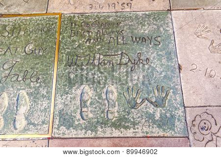 Handprints Of William Van Dyke In Hollywood Boulevard In The Concrete Of Chinese Theatre's Forecourt