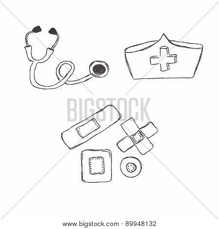 Medical, objects, sketch, vector, illustration