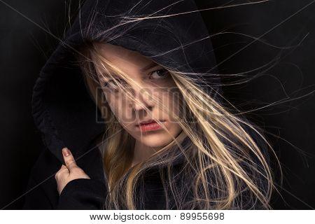 Scared Girl In Black