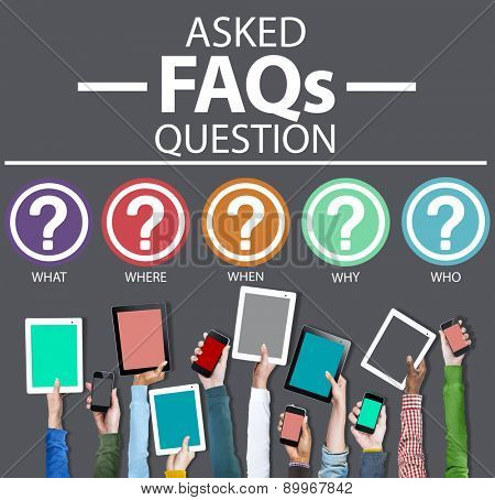 Frequently Asked Questions FAQ Problems Concept poster