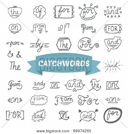 Hand Lettered Catchwords. Hand Drawn Set