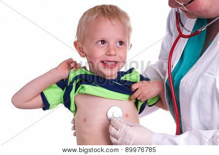 Doctor Examines A Young Child.