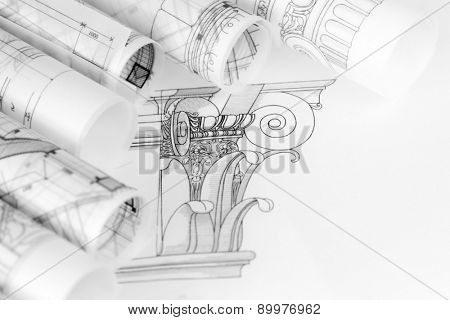 rolls of architecture blueprints & drawings composite architectural order based