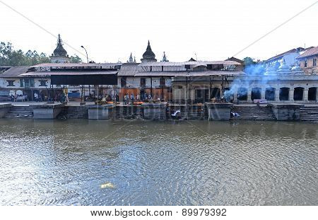 Cremation Ghats In Pashupatinath Before The Earthquake. Kathmandu, Nepal