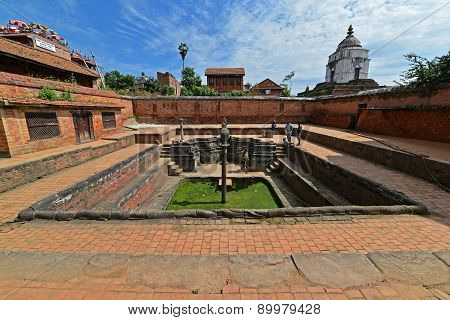 Ancient Fountain In Bhaktapur. Nepal. Now Destroyed After A Massive Earthquake Hit Nepal