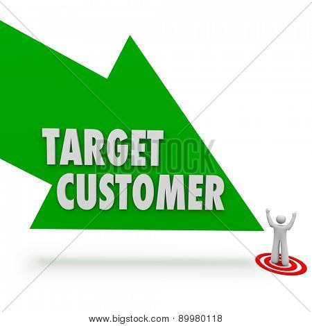 Target Customer arrow pointing at person or prospect for your company or business