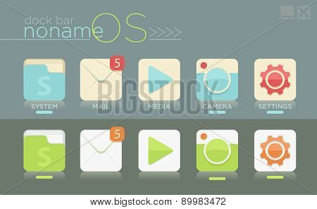 Vector template of simple dock bar for no name OS