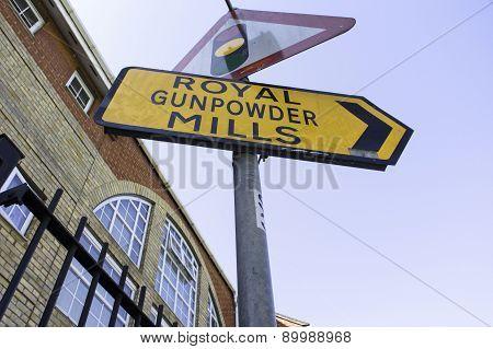 Royal Gunpowder Mills sign