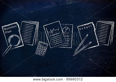 Business Documents: Folder, Stats And Budget