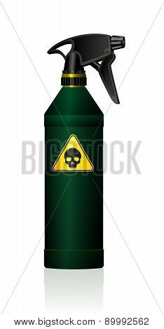 Poison spray bottle for plant toxins, insecticides, pesticides, biocides and etc - with a black skull on a yellow triangle as a hazard warning sign for toxicity. Isolated vector on white background. poster