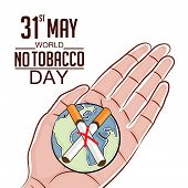 illustration of a earth with cigarette for World No Tobacco Day. poster