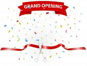 Vector Illustration of Grand opening background with confetti poster