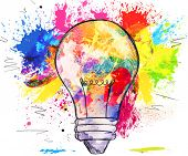 Hand-drawn light bulb over bright colorful blots of paint, on white, concept of creativity and innovation poster