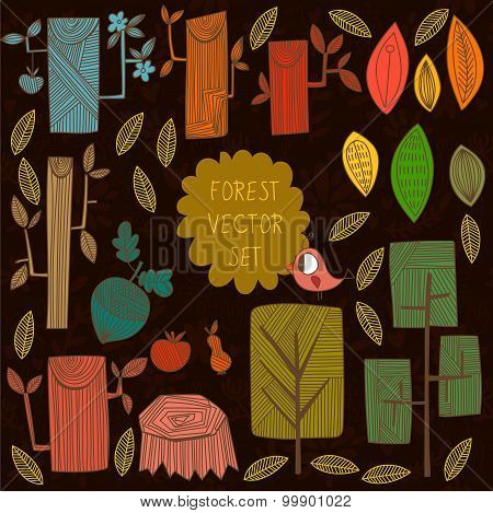 Autumn Vector Set. Collection Of Different Cartoon Trees -stock Vector