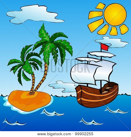 Sailship And Tropical Island