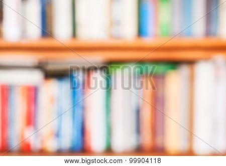 Blurred Background From Books On Bookshelf