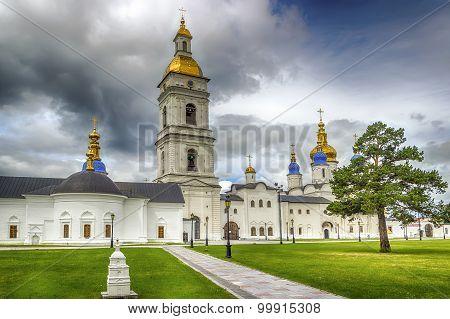 Tobolsk Kremlin Courtyard Sophia-assumption Cathedral Panorama Menacing Sky