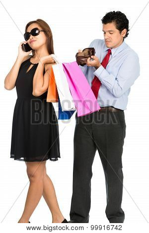 Couple Man Empty Wallet Shopping Woman Spender V