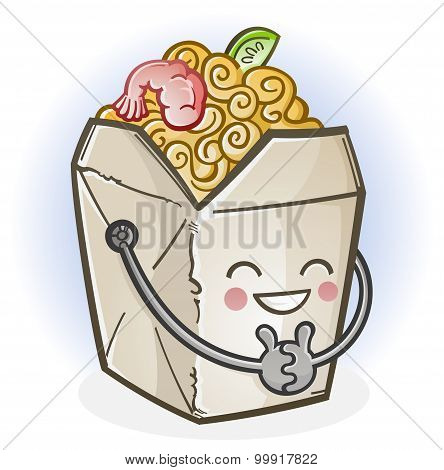 Chinese Food Take Out Box Cartoon Character