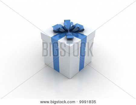 One White Gift Box With Blue Ribbon And Bow Isolated