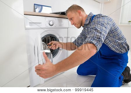 Technician Making Washing Machine