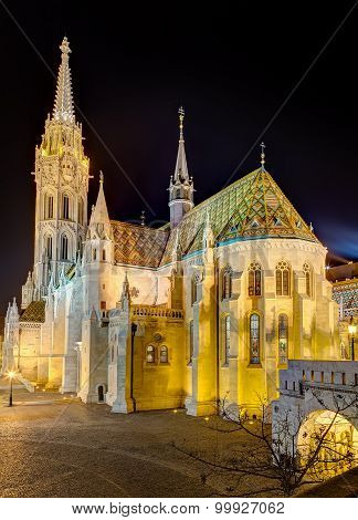 Matthias Church is a Roman Catholic church located in Budapest, Hungary, in front of the Fisherman's Bastion at the heart of Buda's Castle district. According to church tradition, it was originally built in Romanesque style in 1015. poster