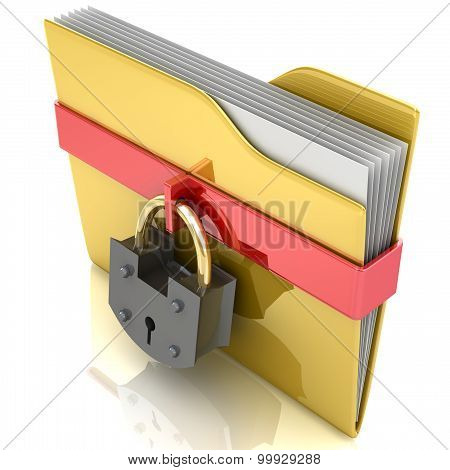 Yellow folder and lock. Data security concept.