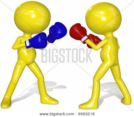 Fighters Red Blue Boxing Gloves Fight Box