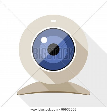 Web Camera Flat Icon With Long Shadow On White Background