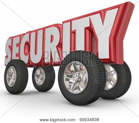 Security word in 3d letters with tires and wheels to illustrate safe driving and crime prevention from theft and stolen vehicles