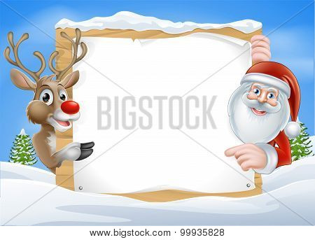 Christmas Reindeer And Santa Sign