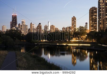 Downtown buildings seen from Lincoln Park.  USA, North America poster