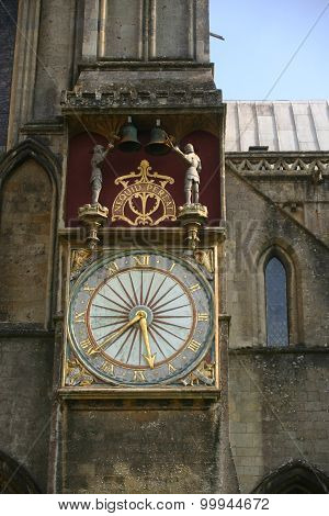 Ornate clock on Wells Cathedral